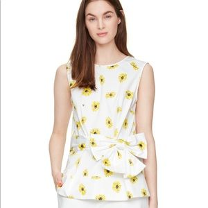 Kate Spade yellow daisy peplum top